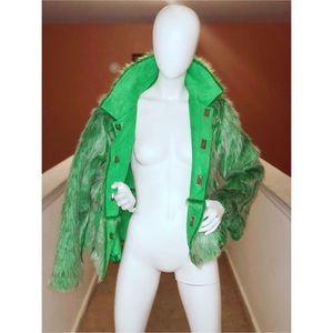 Jackets & Blazers - Green reversible fur/suede coat